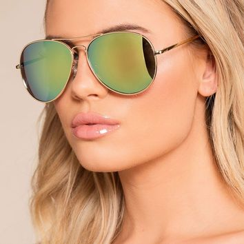 Walking On Sunshine Green Mirrored Aviator Sunglasses