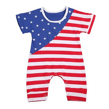Newborn Baby Rompers Summer Striped Print Boys Girls Jumpsuit For Infant Clothes New Short Sleeve Star Kids Baby Romper