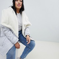 ASOS DESIGN Curve waterfall parka with borg liner at asos.com
