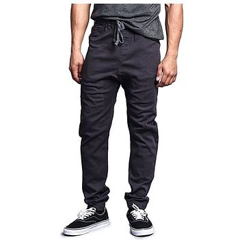 Solid Color Harem Twill Jogger Pants in Charcoal