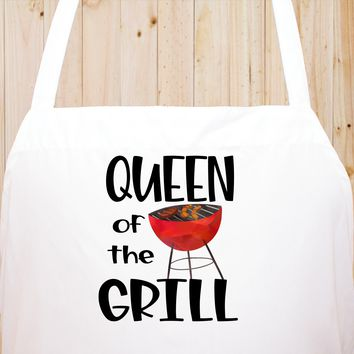 Queen Of The Grill Chef's Funny Cooking Kitchen Apron , BBQ Grill, Breathable, Machine Washable
