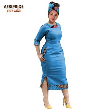 tradional african dresses for women AFRIPRIDE half sleeve mid-calf length women casual split dress with headscarf A1825012