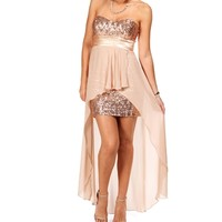 TaupeBlush Homecoming Dress