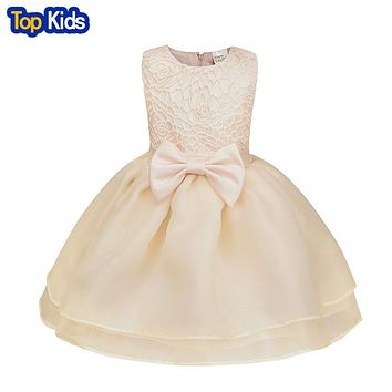 Drawstring Dress Baby Girl Wedding Dress Birthday Party Princess Dress Girls Newborn Christening Gowns