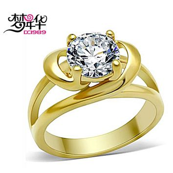 DreamCarnival 1989 Stainless Steel Solitaire Ring for Women Eternal Love Jewelry Wedding Engagement Long Lasting Gold Color Anel