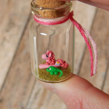 Pinkie Pie and Gummy Inspired Bottle Charm, MLP My Little Pony Terrarium Necklace