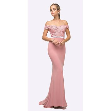Off the Shoulder Long Rose Gown Mermaid Lace Bodice