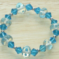 Beaded, Stretch Bracelet in Turquoise and Silver