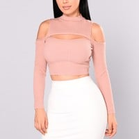 All My Love Cold Shoulder Sweater - Mauve