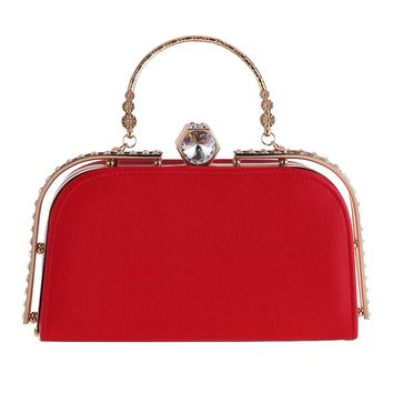 Fashion Sparkling red women evening handbags metal handle ladies clutch bags Girl's dinner party flap bags diamond clutch purses