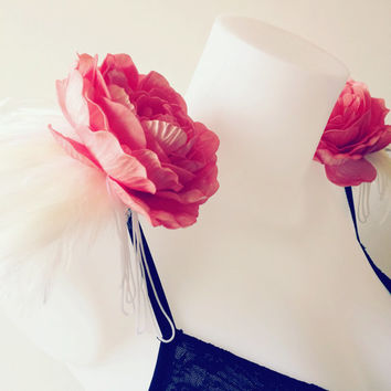 Ivory feather and coral peony epaulettes, feather epaulettes, feather and flower shoulder pieces, floral shoulderpads, clip on epaulettes