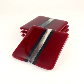 Fused Glass Coasters - Drink Coaster Set - Red and Black - Handmade