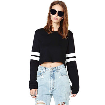 Black  Faux Leather Striped Long Sleeves Cropped Pullover Sweatshirt