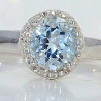 6mm Genuine Aquamarine Diamond Ring White Gold Quality