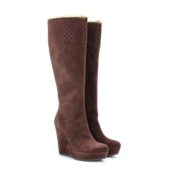 gucci - shearling-trimmed suede knee boots