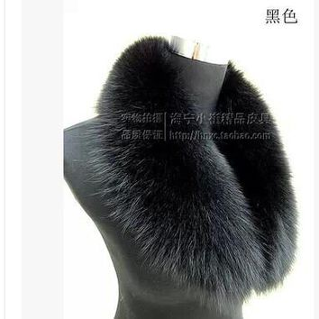 Free shipping Haining leather The fox fur collar The whole leather fox wool scarf shawl collar clip Winter dress collocation