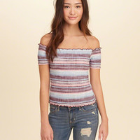 Girls Smocked Off-The-Shoulder Top | Girls Tops | HollisterCo.com