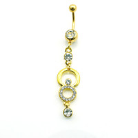 Fashion Belly Button Rings Golden Dangle Rhinestone Rings Navel Body Piercing Jewelry
