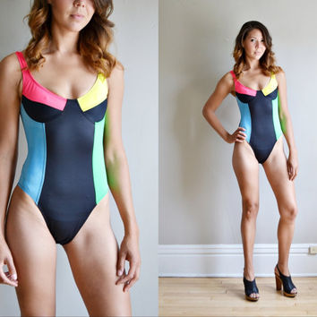 Vtg 90s NEON colorblock one piece swimsuit // colorful high cut sides full cup strappy cut out back deep v athletic pinup bathing suit