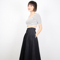 Vintage 80s Skirt Black Skirt High Waisted Skirt Pleated Skirt Uniform Midi Skirt A Line Skirt 1980s Knee Length Skirt Full XS Extra Small