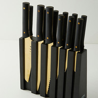 Golden 13-Piece Knife Block Set