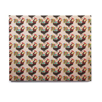"Pom Graphic Design ""The Rooster Squad"" Black Pattern Birchwood Wall Art"