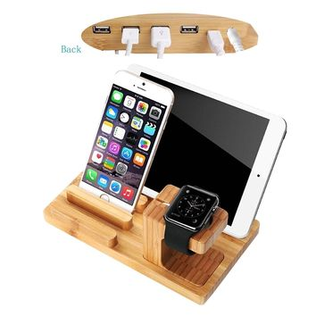 Premium Bamboo Wooden 4 Ports USB Charger Charging Station Dock Display Holder Micro USB Hub Charging Stand Charger Cradle for Apple Watch iPhone iPad Tabs & Smartphones