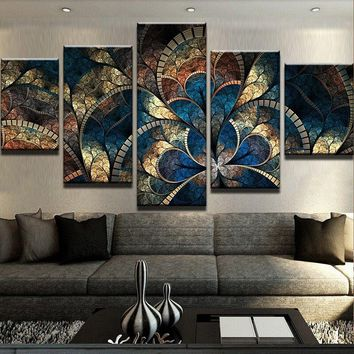 Abstract Canvas Painting Wall Art Oil Poster Wall Pictures 5 Panel Fantasy Flowers For Living Room Home Decor Frames Modular