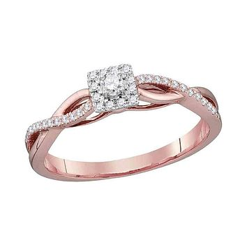 10k Rose Gold Women's Diamond Solitaire Twist Bridal Ring - FREE Shipping (US/CA)