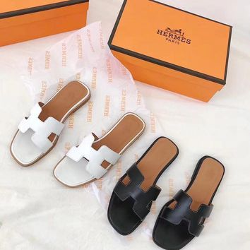 hermes women fashion simple solid color genuine leather h slippers all match casual sandals flats shoes