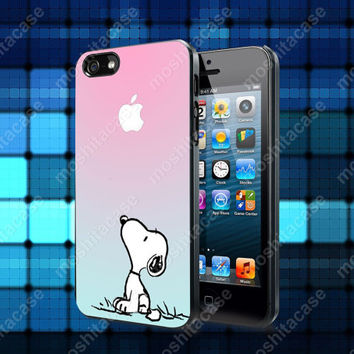 Snoopy Gradient Pink Mint Custome Case For iPhone 5, 5S, 5C, 4, 4S and Samsung Galaxy S3, S4
