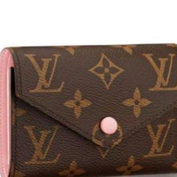 New Louis Vuitton Brown and pink canvas Victorine Wallet 2018