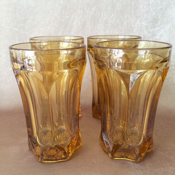 Amber Tumblers, Anchor Hocking, Amber Fairfield, Mid Century Glassware, Vintage Kitchen, Amber Drinking Glass, Holiday Table, Honey Amber