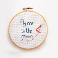 Fly me to the moon- Cross Stitch embroidery pattern PDF- Instant Download