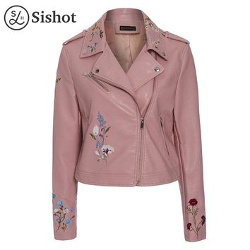 women autumn winter pink floral embroidery slim patchwork  zipper casual short jacket