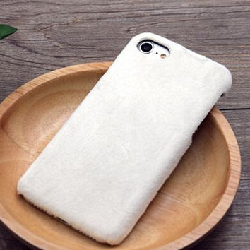 White Winter Fur Warm Case Cover for iPhone 7 7 Plus & iPhone se 5s 6 6s Plus +Gift Box
