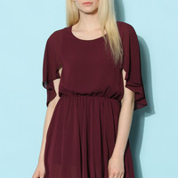 Flap Crepe Dress in Plum Red