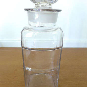 Large rectangular apothecary jar with label indentation, drug store display or storage