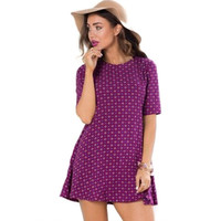 Purple Patterned Sleeve Dress