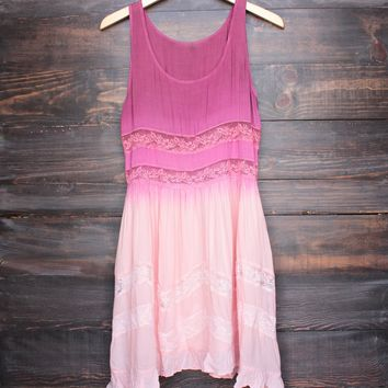 dip dye boho lace trim trapeze slip dress in pink
