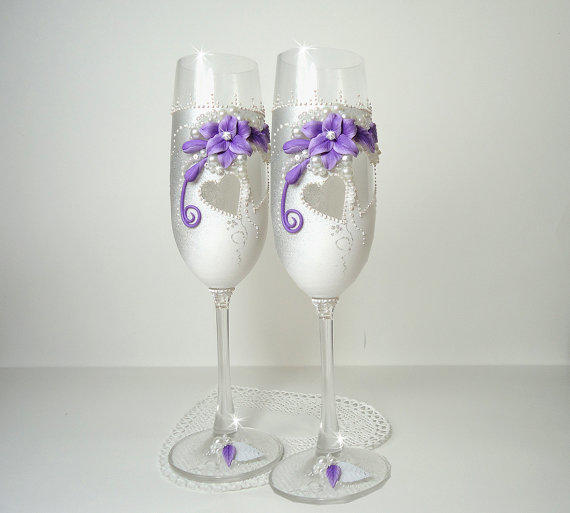 White Silver Purple Hand Decorated From Joliefleurdeco On Etsy
