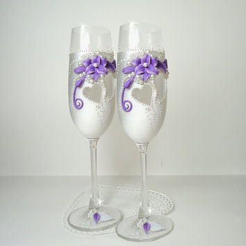 White Silver Purple Hand Decorated Wedding Anniversary Champagne Glasses Toasting Flutes Beads Flowers Polymer Clay by Elena Joliefleur