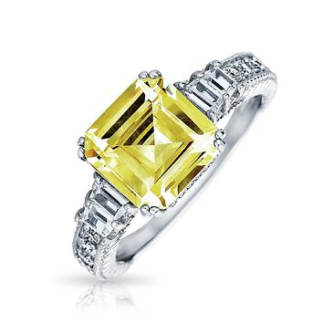 4CT Yellow Canary CZ Asscher Cut Engagement Ring 925 Sterling Silver