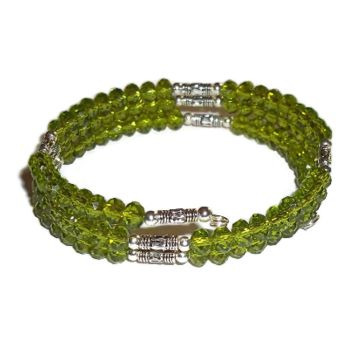 "Plus Size Elegance Peridot Green Crystal & Silver Beaded Artisan Crafted Wrap Bracelet, Swarovski Elements, 8"" Bracelet, Gift for Her"
