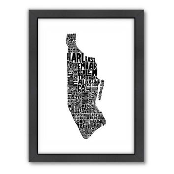 Americanflat Manhattan Typography Map Digital Print Wall Art in Black and White