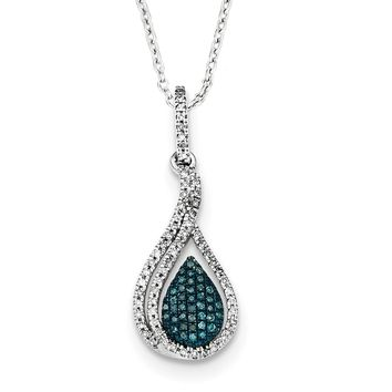 1/5 Ctw Blue & White Diamond Teardrop Necklace in Sterling Silver