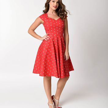 1950s Style Red Anchor Print Cap Sleeve Swing Dress