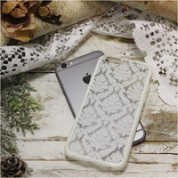 White lace damask  iPhone 6, 6S  phone case, cell phone cover, black | CP3