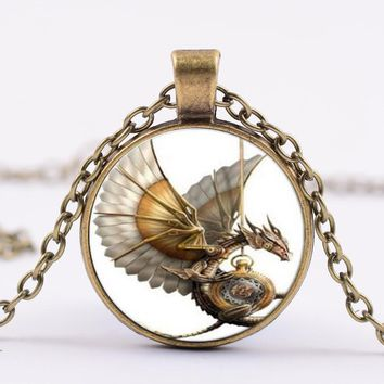 KLEEDER New Pterosaur Cage Pendants Necklace Fashion Jewelry Handmade Chains Glass Dome Dragon Pendants Silver Animal Necklaces