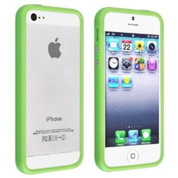 iPhone SE Case, Insten Bumper TPU Case with Aluminum Button compatible with Apple iPhone 5SE / 5S / 5, Green